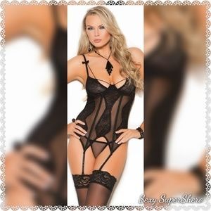 🆕Sexy Mesh and Lace Strappy Bustier Lingerie Set
